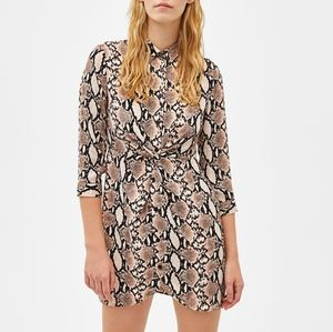 Bershka Snakeskin Pattern Shirt Dress